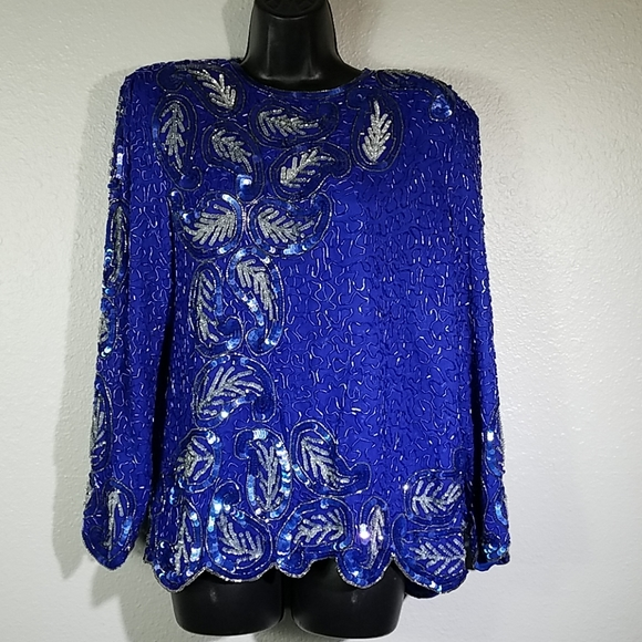 1980/'s 1990/'s Iridescent Blue Sequin Butterly Style Blouse Vintage